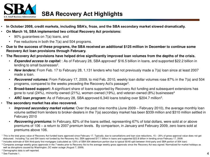SBA Recovery Act Highlights