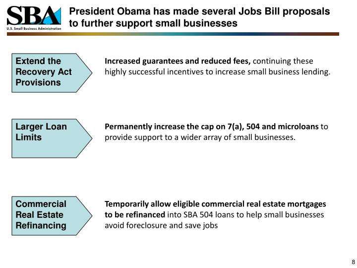 President Obama has made several Jobs Bill proposals to further support small businesses