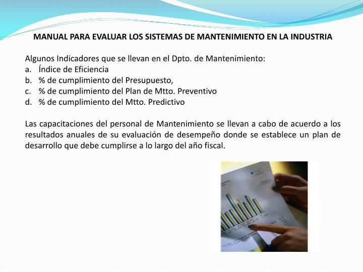 MANUAL PARA EVALUAR LOS SISTEMAS DE MANTENIMIENTO EN LA INDUSTRIA