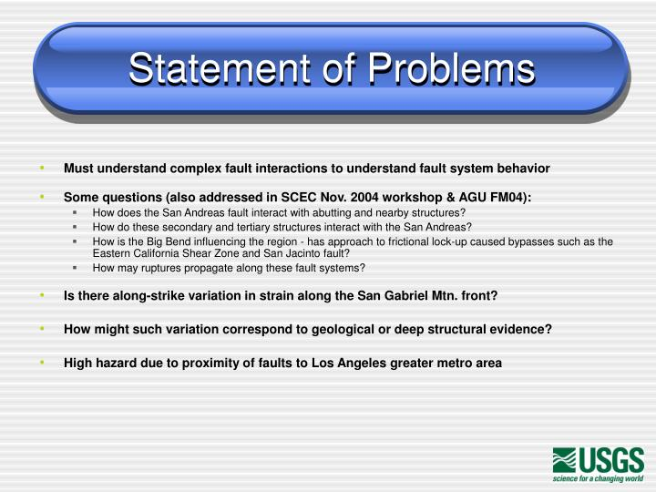 Statement of problems