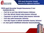 520 say l kurumlar vergisi kanunu ile sa lanan te vikler