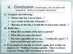 v conclusion continued do not write the questions write in complete sentences1