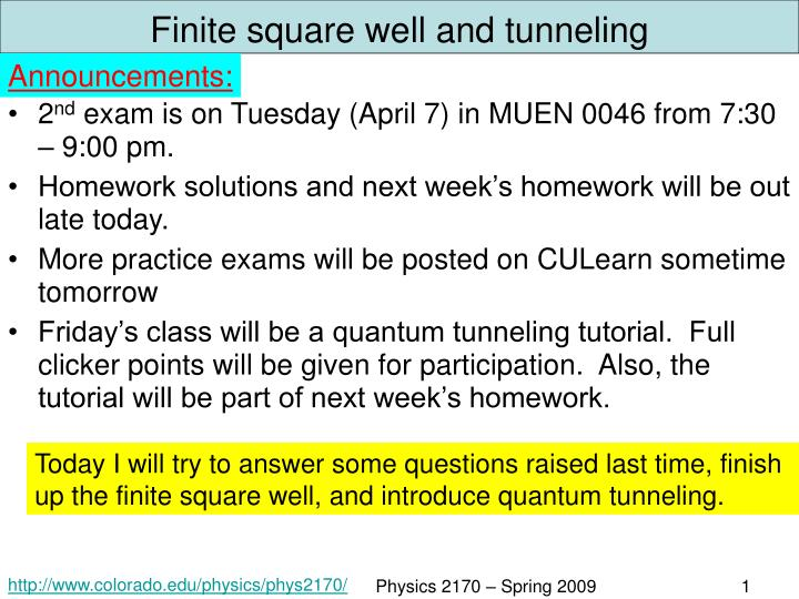 PPT - Finite square well and tunneling PowerPoint