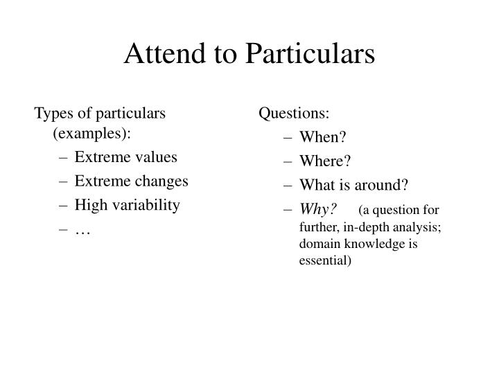 Types of particulars (examples):
