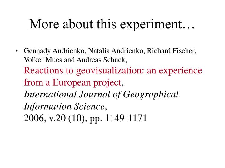More about this experiment…