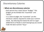 discretionary calories