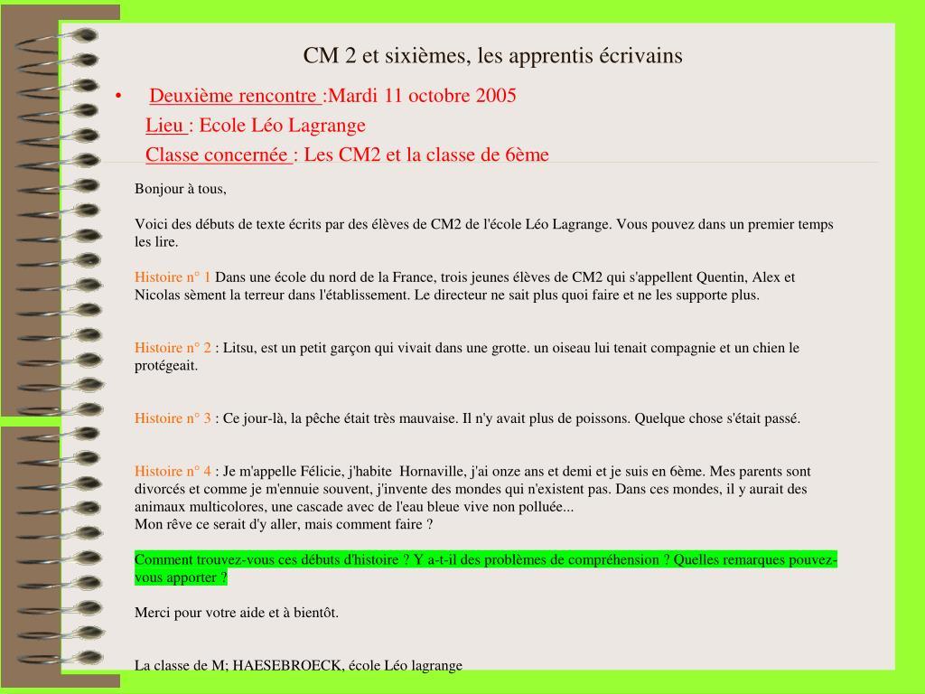 Ppt Cm2 Et Sixièmes Les Apprentis écrivains Powerpoint