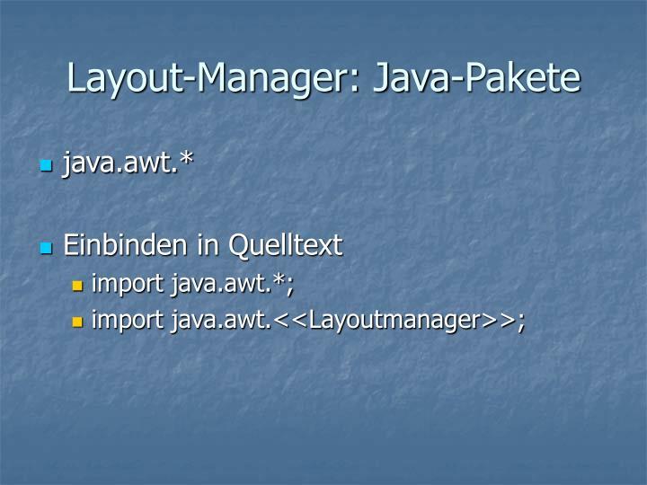Layout-Manager: Java-Pakete