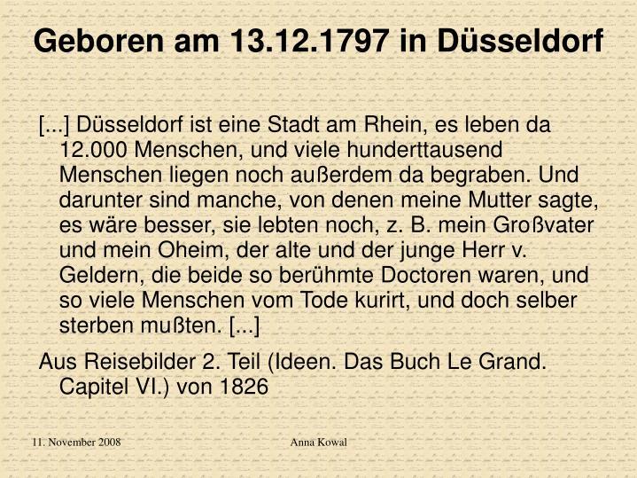 Geboren am 13 12 1797 in d sseldorf