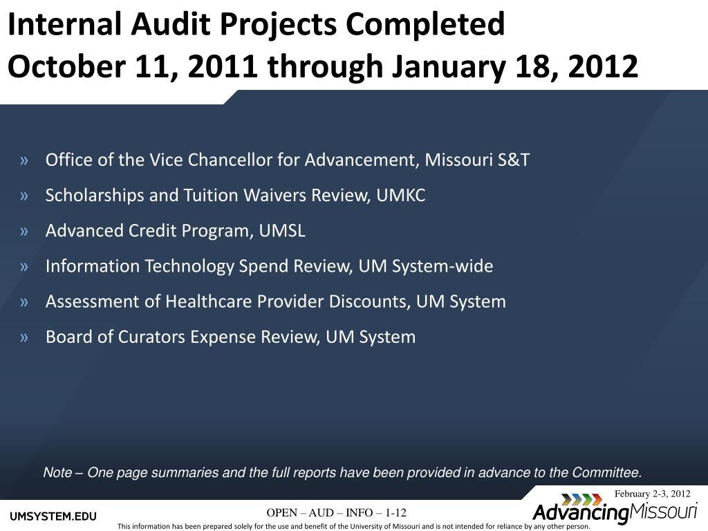 PPT - Internal Audit Quarterly Report UM PowerPoint