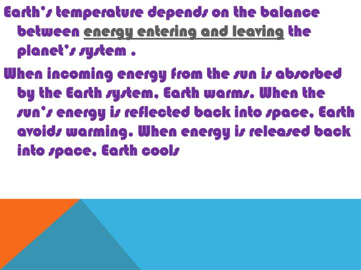 Earth's temperature depends on the balance between