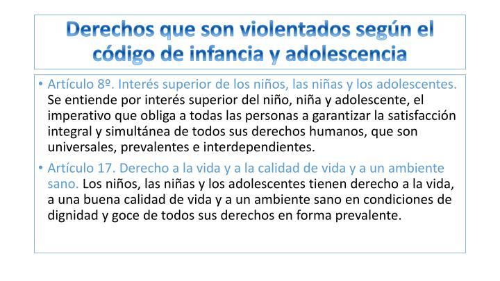 Derechos que son violentados según el código de infancia y adolescencia
