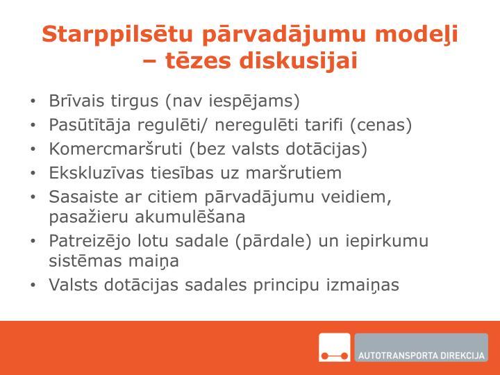 Starppilsētu pārvadājumu modeļi – tēzes diskusijai