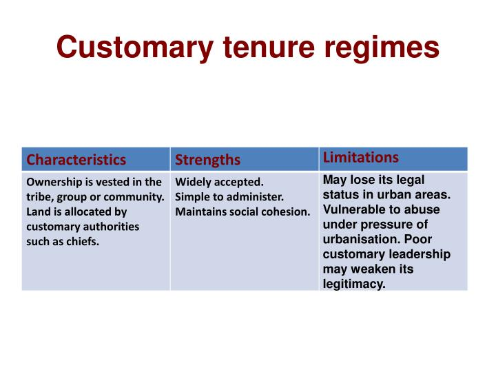 Customary tenure regimes