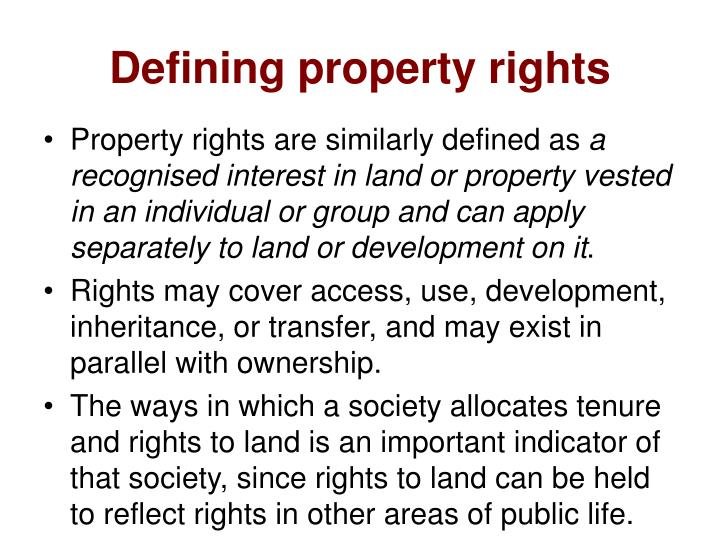 Defining property rights