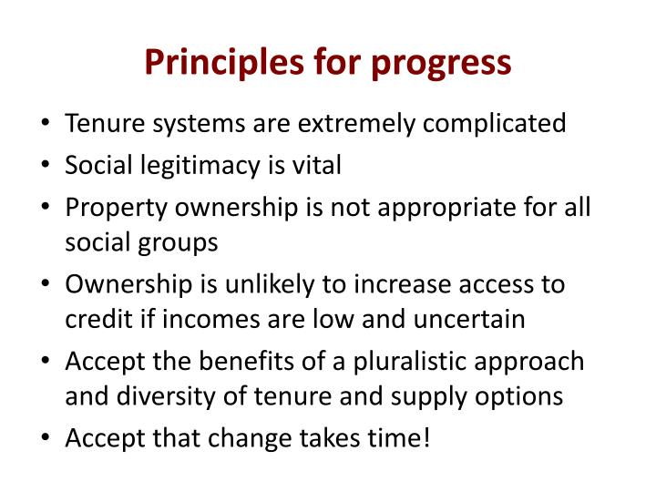 Principles for progress