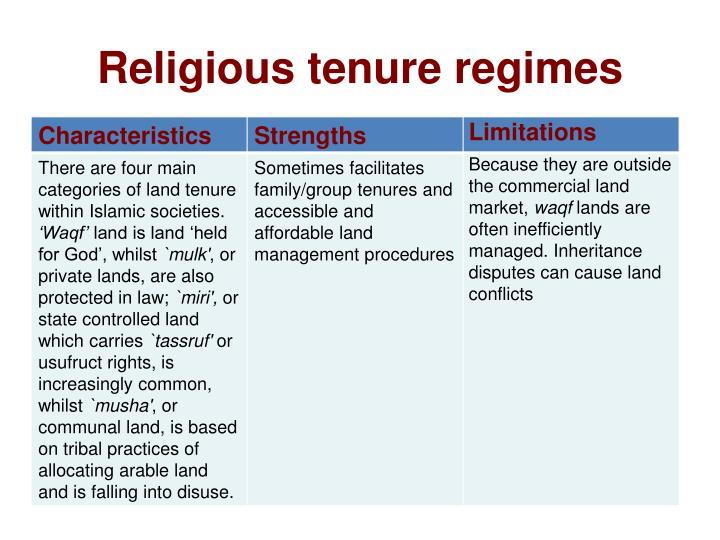 Religious tenure regimes