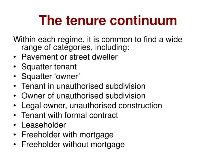The tenure continuum