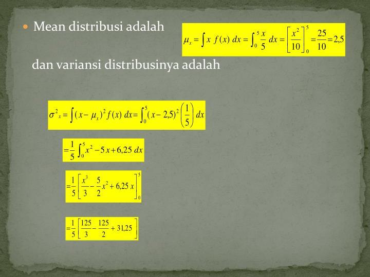 Mean distribusi adalah