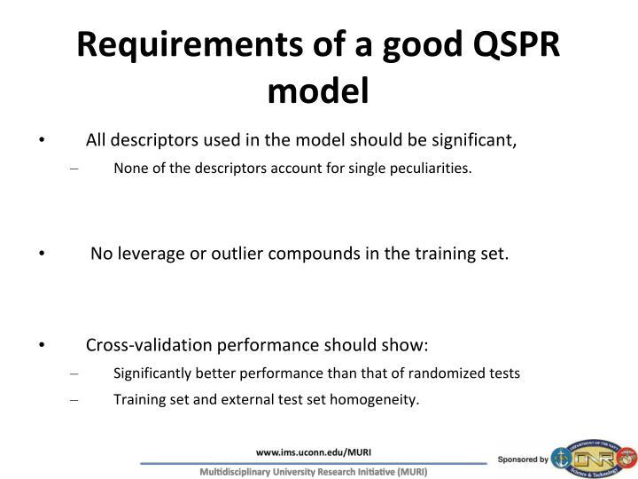 Requirements of a good QSPR model