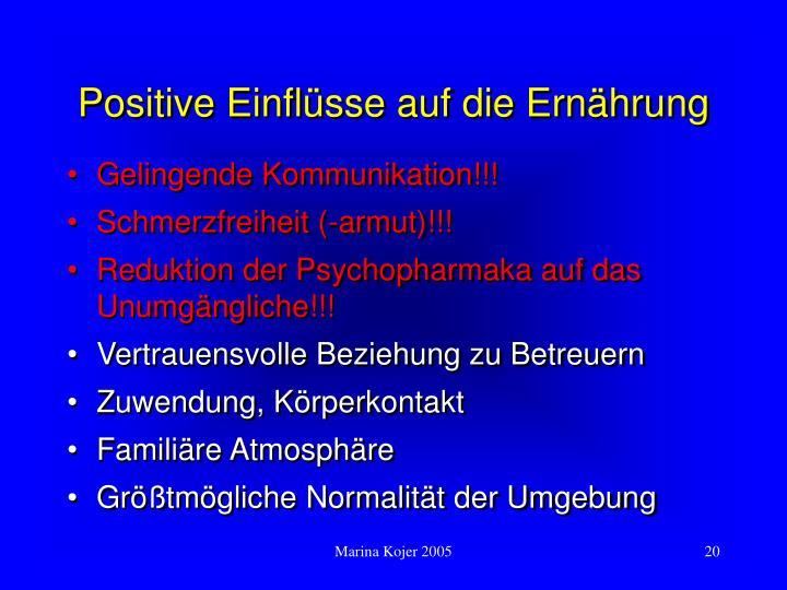 Positive Einflüsse auf die Ernährung