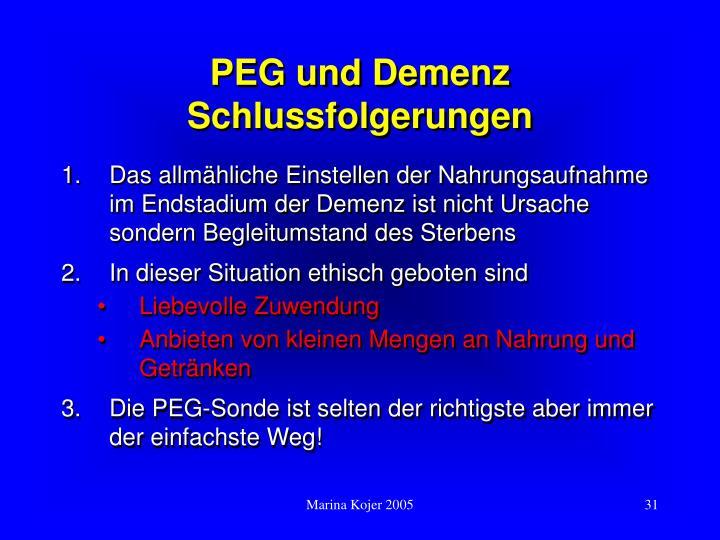 PEG und Demenz Schlussfolgerungen
