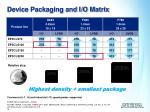 device packaging and i o matrix