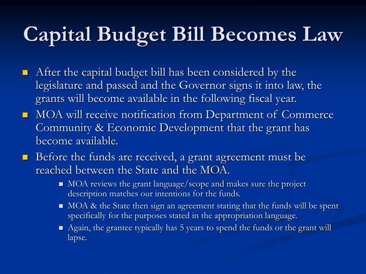 Capital Budget Bill Becomes Law