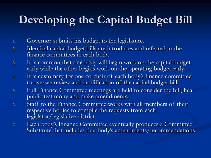 Developing the Capital Budget Bill