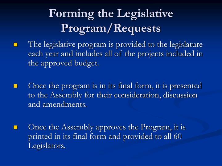 Forming the Legislative Program/Requests