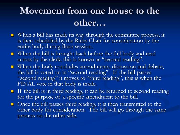 Movement from one house to the other…
