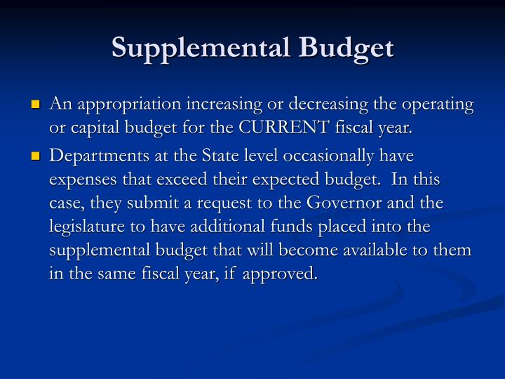 Supplemental Budget