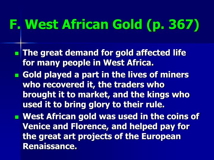 F. West African Gold (p. 367)