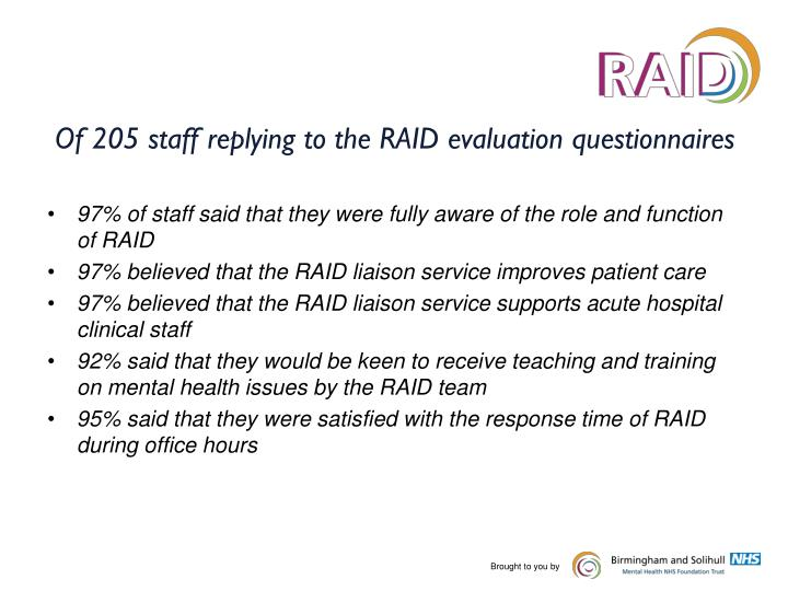 Of 205 staff replying to the RAID evaluation questionnaires