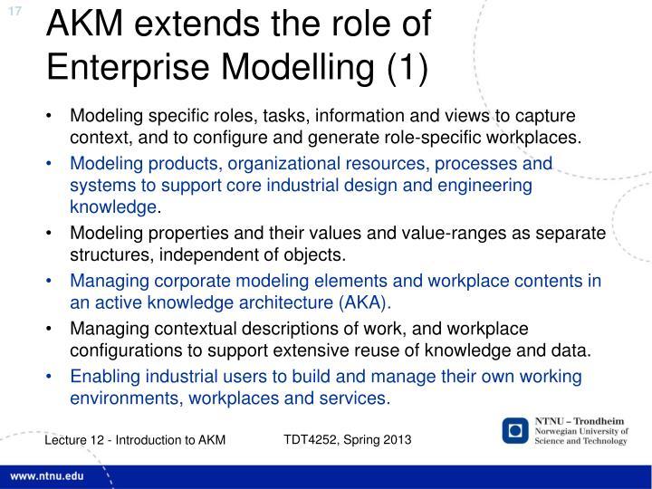 AKM extends the role of Enterprise Modelling (1)