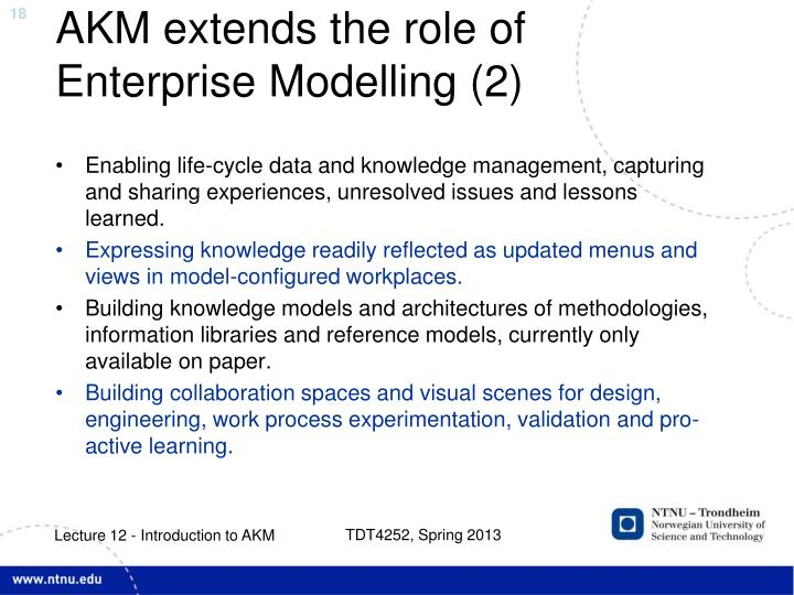AKM extends the role of Enterprise Modelling (2)