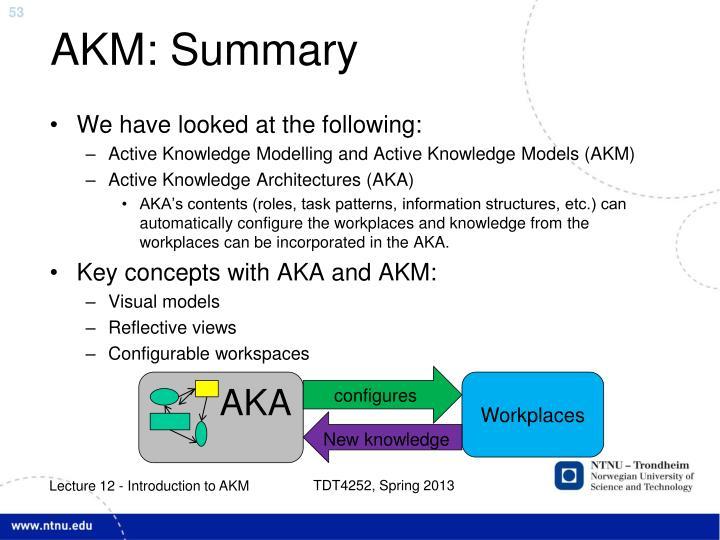 AKM: Summary