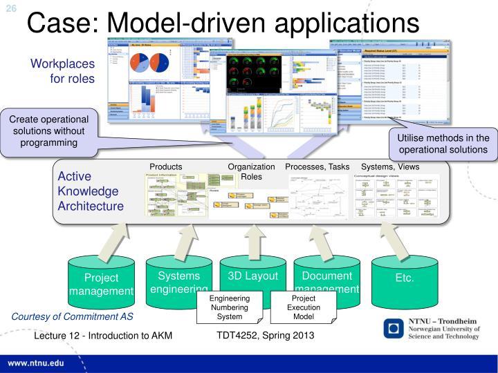 Case: Model-driven applications