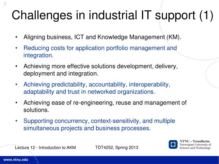 Challenges in industrial it support 1
