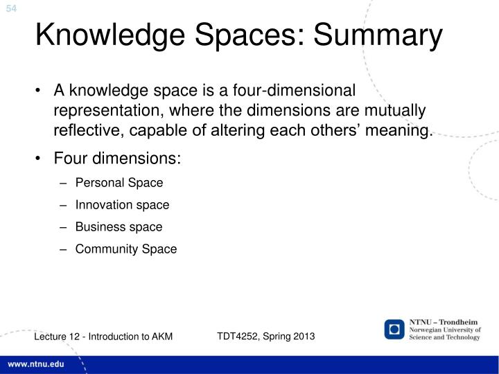 Knowledge Spaces: Summary