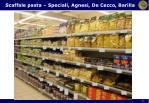 scaffale pasta speciali agnesi de cecco barilla