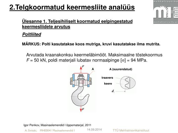 2.Telgkoormatud keermesliite analüüs