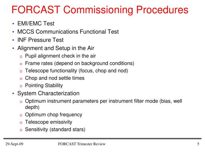 FORCAST Commissioning Procedures
