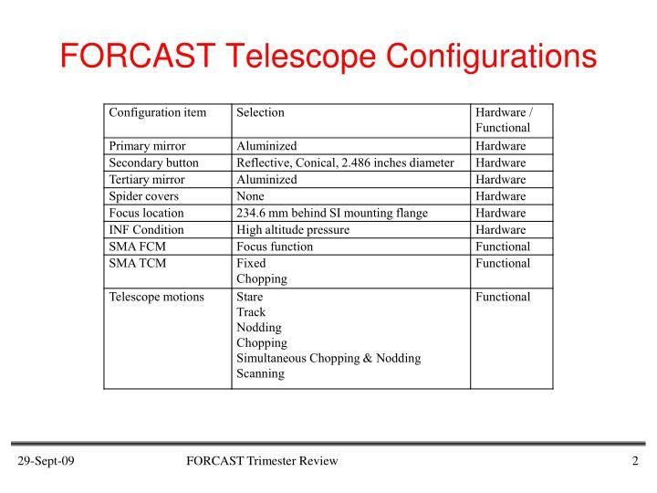 Forcast telescope configurations