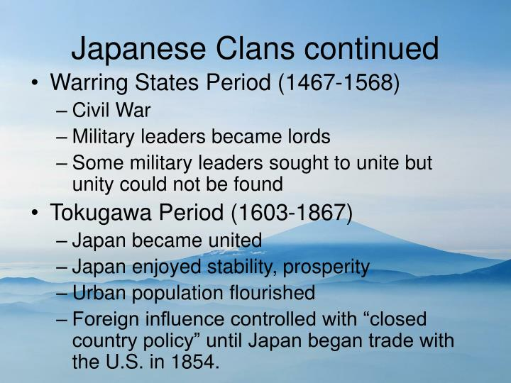Japanese Clans continued