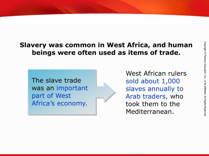 Slavery was common in West Africa, and human beings were often used as items of trade.