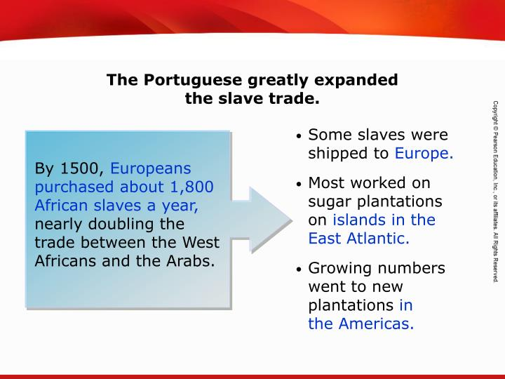 The Portuguese greatly expanded                  the slave trade.
