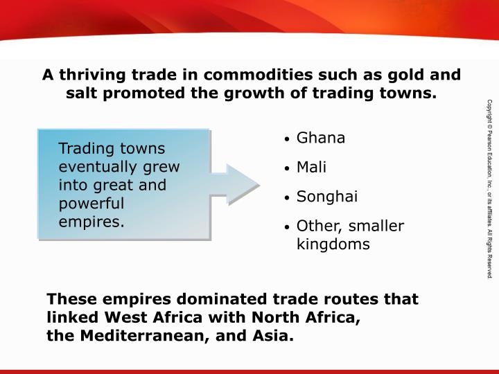 A thriving trade in commodities such as gold and salt promoted the growth of trading towns.