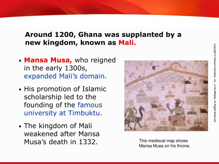 Around 1200, Ghana was supplanted by a new kingdom, known as