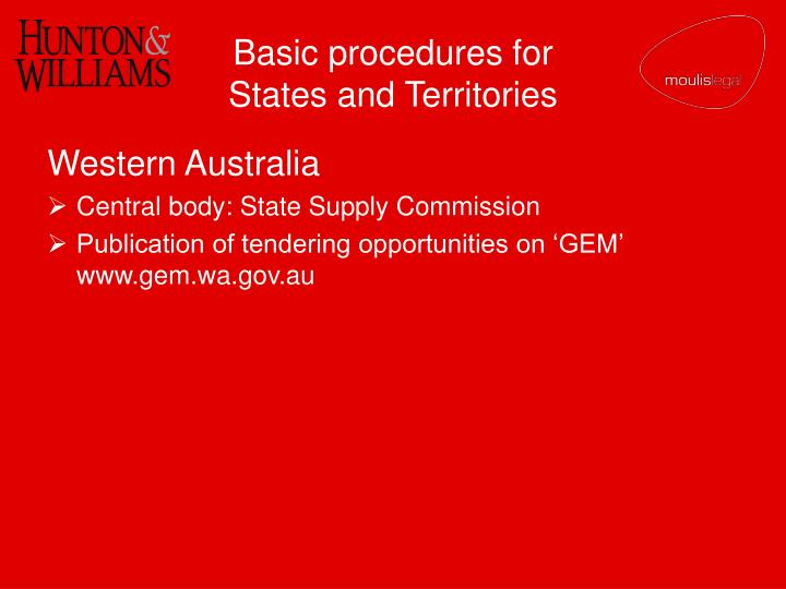 Basic procedures for